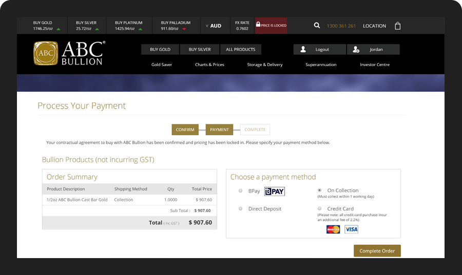 Payment integrated with CBA's Bpoint gateway enabling Real-time Purchases