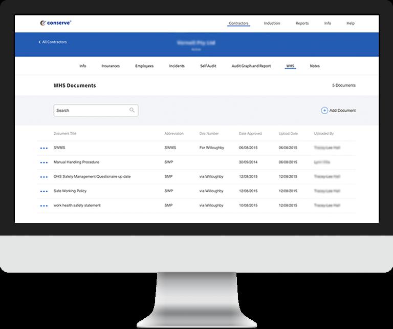 Conserve contractor compliance platform